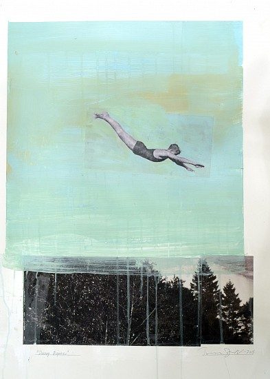 TOM JUDD, DIVING FIGURE #4 mixed media and paper