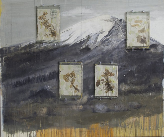 TOM JUDD, THE CENTRAL FLAW oil on canvas with glass panels and collage