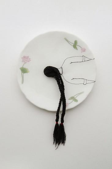 DIEM CHAU, FLOAT Porcelain plate, cotton, organza & thread
