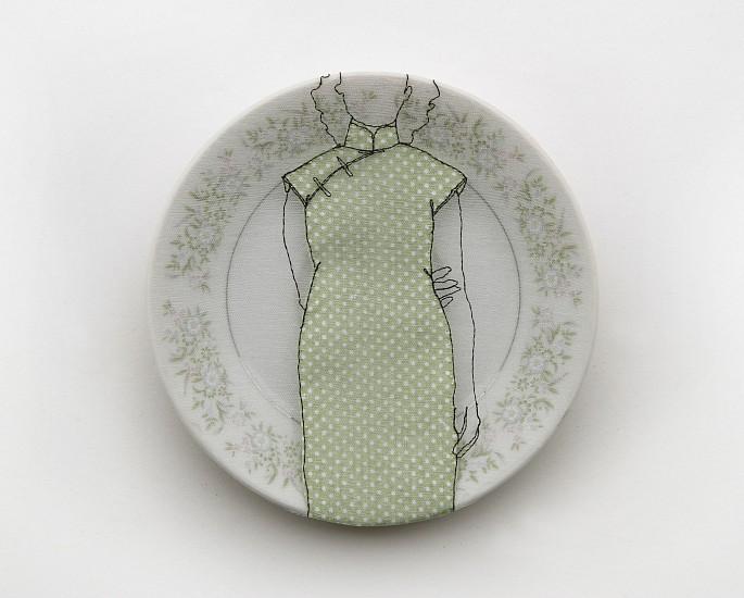 DIEM CHAU, CHEONGSAM Porcelain plate, cotton, organza & thread