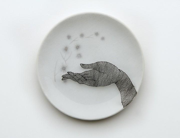 DIEM CHAU, GIFT Porcelain plate, cotton, organza & thread