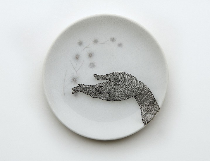 DIEM CHAU, GIFT Porcelain plate, cotton, organza & thread