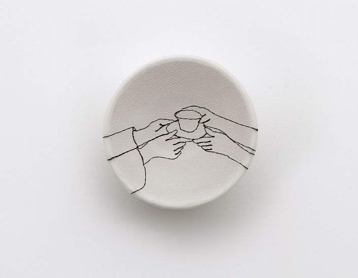 DIEM CHAU, OFFERING Porcelain plate, cotton, organza & thread