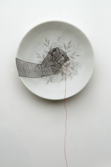 DIEM CHAU, STRAND Porcelain plate, cotton, organza & thread