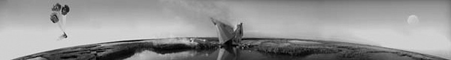 KAHN + SELESNICK, CRASH LANDING II  5/10 PANORAMIC SURVEY PHOTOGRAPH b/w quadtone digital print