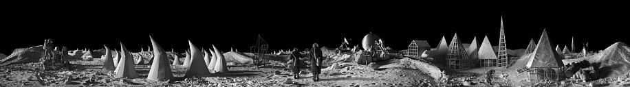 KAHN + SELESNICK, LUNAR ENCAMPMENT 7/10 PANORAMIC SURVEY PHOTOGRAPH B/W quadtone print