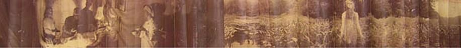 KAHN + SELESNICK, SOVIET SCIENTISTS OPERATE  ON A SHAMAN PANORAMIC SURVEY PHOTOGRAPH sepia