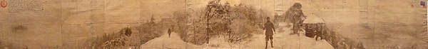 KAHN + SELESNICK, WE VISIT A MOUNTAIN TOP SHRINE BUILT TO HONOR A FAMOUS BURYAT LLAMA PANORAMIC SURVEY PHOTOGRAPH sepia