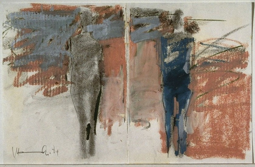 MANUEL NERI, ARCOS DE GESO STUDY NO 2 (diptych) Oil paint stick, charcoal, graphite on paper