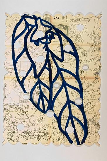 ANA MARIA HERNANDO, EUPHORBIA acrylic, ink, oil on vintage paper
