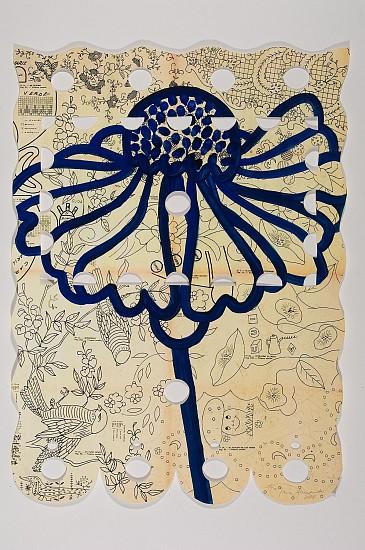 ANA MARIA HERNANDO, HELENIUM SAHIN acrylic, ink, oil on vintage paper
