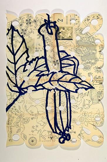 ANA MARIA HERNANDO, PASIONARIO EN ENERO acrylic, ink, oil on vintage paper
