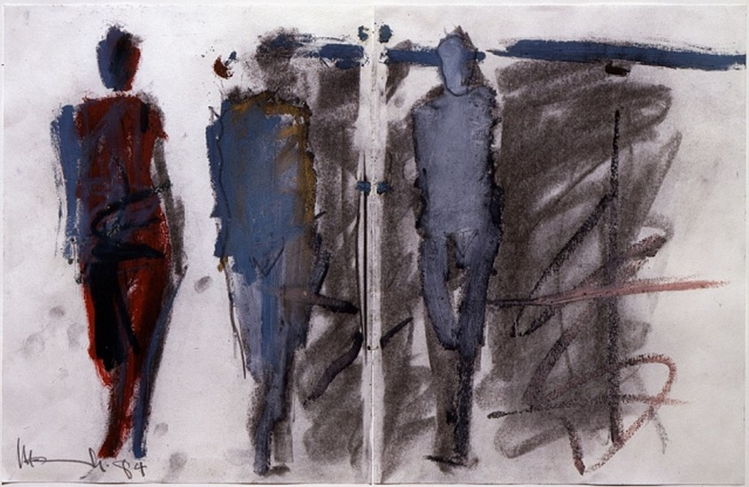 MANUEL NERI, ARCOS DE GESO STUDY NO 13 (diptych) Oil paint stick, charcoal, graphite on paper