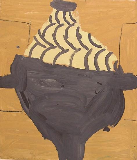 GARY KOMARIN, BLACK ON GOLD acrylic on paper