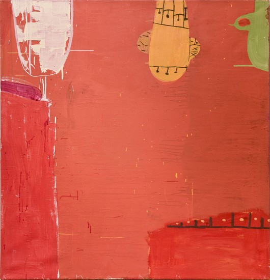 GARY KOMARIN, RUE MADAME IN RED No. 24 mixed media on canvas