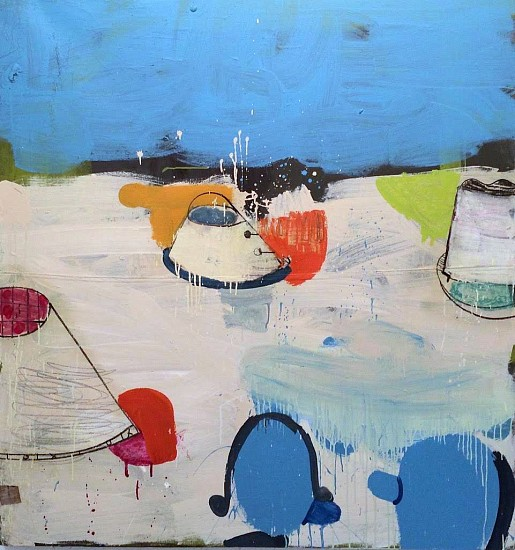 GARY KOMARIN, A SUITE OF BLUE SEA, BOGOTA mixed media on canvas
