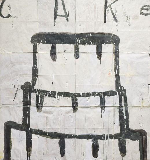 GARY KOMARIN, CAKE, BLACK  ON WHITE acrylic on paper