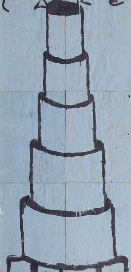 GARY KOMARIN, CAKE, STACKED BLACK ON BLUE acrylic on paper