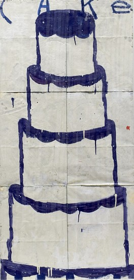 GARY KOMARIN, CAKE, STACKED BLUE ON WHITE acrylic on paper