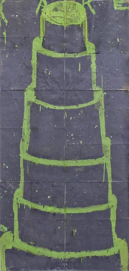 GARY KOMARIN, CAKE, STACKED GREEN ON GRAY acrylic on paper