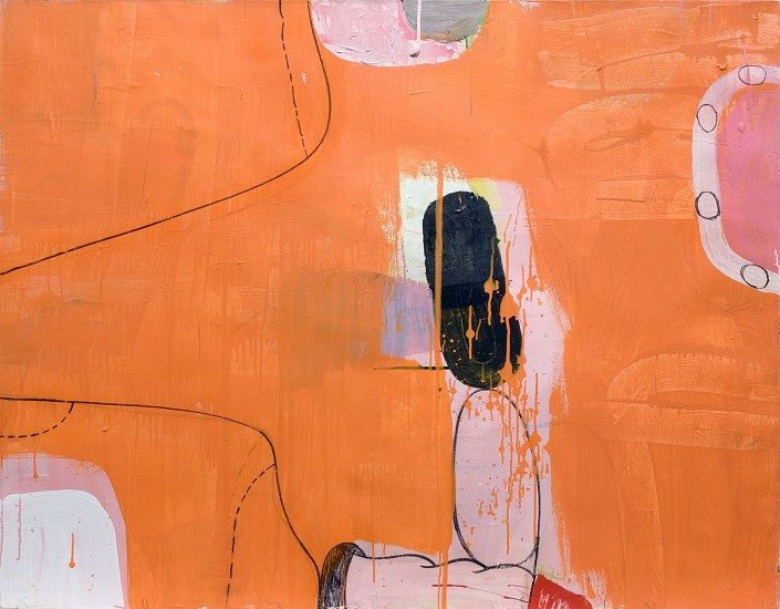 GARY KOMARIN, IPSO FACTO IN ORANGE WITH BLACK mixed media on canvas