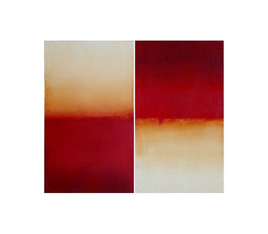 BETTY MERKEN, RED AND BLACK QUADRANT #06-07-03 Oil monotype on Rives BFK paper