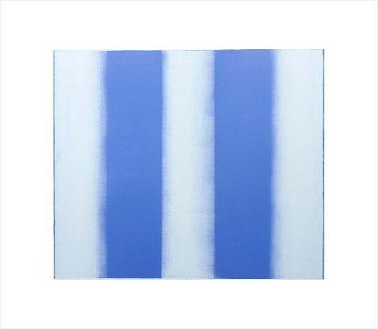 BETTY MERKEN, STRIPES, BLUE #10-15-12 Oil monotype on Rives BFK paper