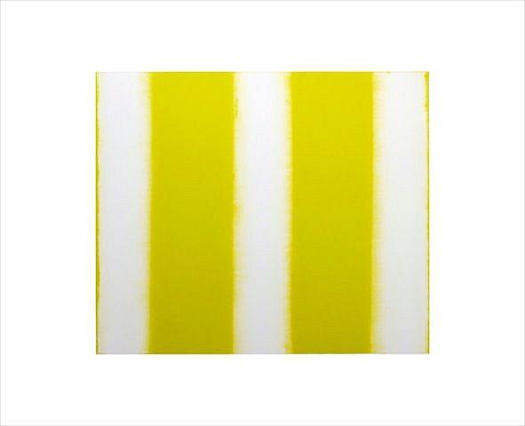 BETTY MERKEN, STRIPES, CITRON #07-15-08 Oil monotype on Rives BFK paper