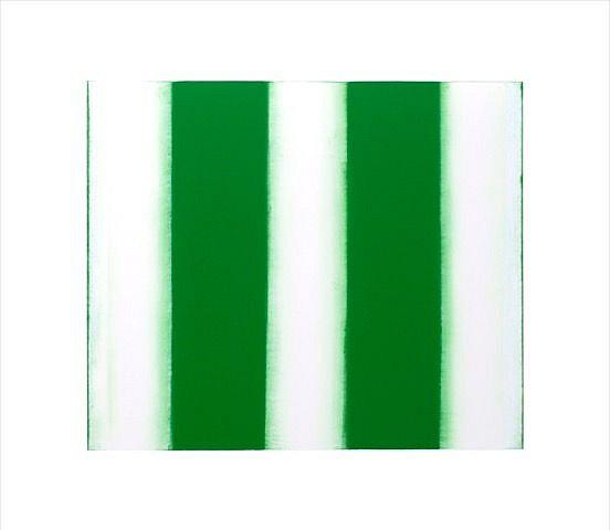 BETTY MERKEN, STRIPES, GREEN 02.16.04 Oil monotype on Rives BFK paper