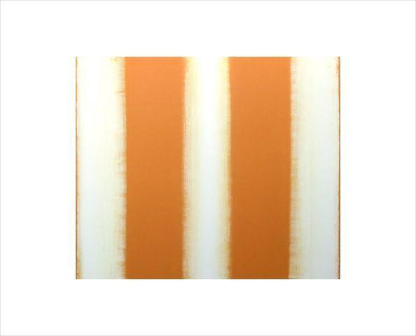 BETTY MERKEN, STRIPES, ORANGE #07-15-23 Oil monotype on Rives BFK paper