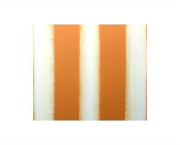 BETTY MERKEN, STRIPES, ORANGE #07-15-23 Oil monotype on Rives BFK paper