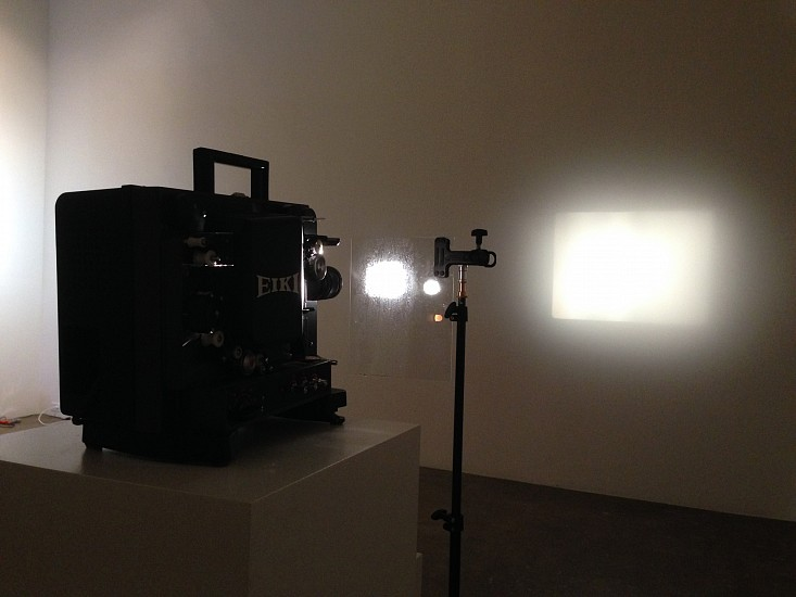 GIBSON + RECODER, ATMOS 1/3 16 mm projector, glass, electric humidifier