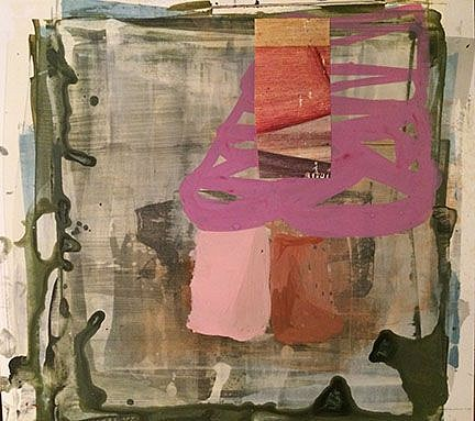 """RECENT ARRIVALS, DEBORAH DANCY, """"AN AWKWARD POSITION"""" acrylic and collage on paper"""