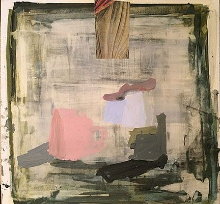 "RECENT ARRIVALS, DEBORAH DANCY, ""ARRANGEMENT"" acrylic and collage on paper"