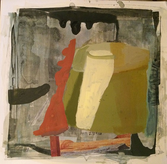 "RECENT ARRIVALS, DEBORAH DANCY, ""BIG DORIC "" acrylic and collage on paper"