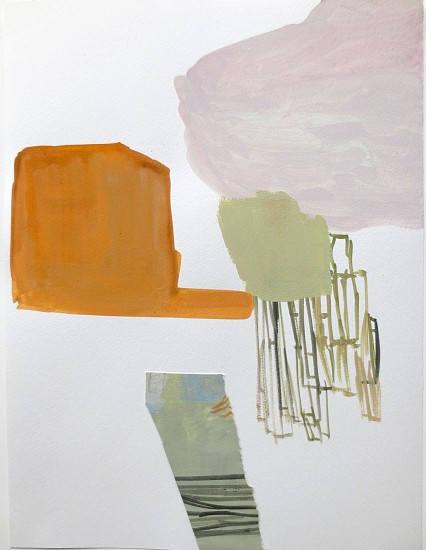"""RECENT ARRIVALS, DEBORAH DANCY, """"BUTTRESS FLYING"""" acrylic and collage on paper"""