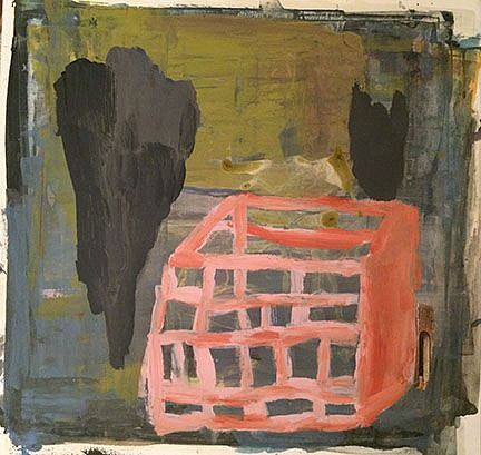 """RECENT ARRIVALS, DEBORAH DANCY, """"LOOKING FOR AN EXIT"""" acrylic and collage on paper"""