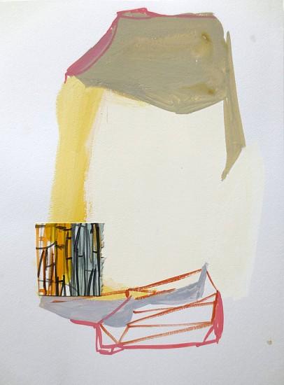 """RECENT ARRIVALS, DEBORAH DANCY, """"PARAPET"""" acrylic and collage on paper"""