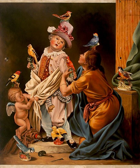 "RECENT ARRIVALS, JERRY KUNKEL, ""PYGMALION AND BIRD FIGURINE GUY"" oil on canvas"
