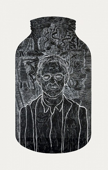 JOHN BUCK, SELF PORTRAIT woodblock rubbing