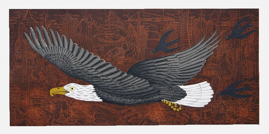 JOHN BUCK, WAR EAGLE Ed. 15 woodblock print