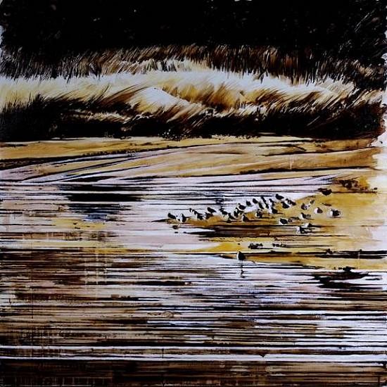 KAREN KITCHEL, WATERWAY #2 (LA RIVER) asphalt emulsion, tar, wax powdered pigments, shellac on canvas