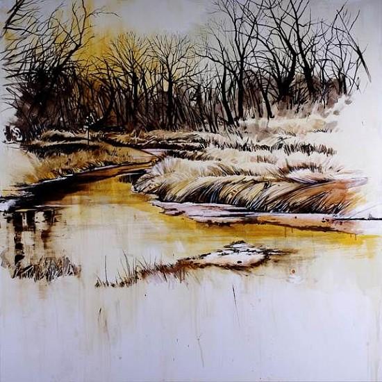 KAREN KITCHEL, WATERWAY #6 (CLEAR CREEK, POWDER RIVER BASIN) asphalt emulsion, tar, wax powdered pigments, shellac on canvas
