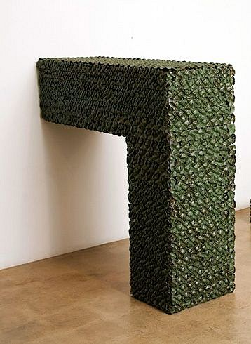 KIM DICKEY, L BEAM aluminum, glazed terracotta, silicone, rubber, grommets