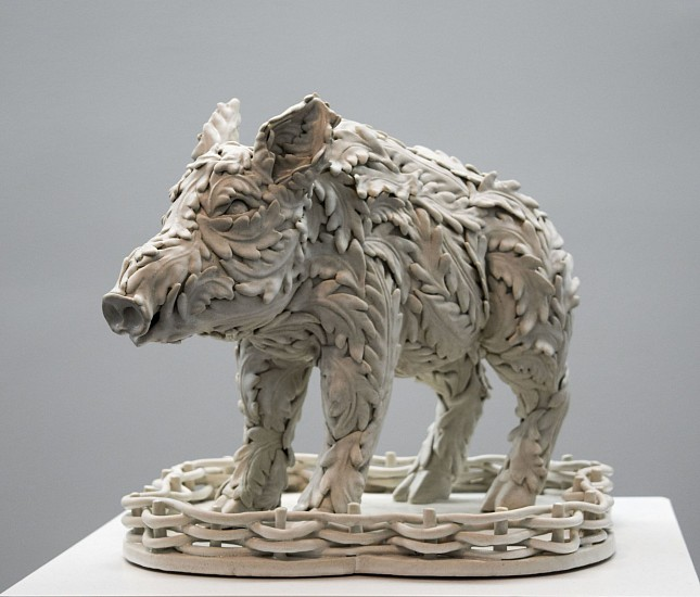 KIM DICKEY, THE 13TH LABOR (DOMESTICATED WILD BOAR) glazed  stoneware