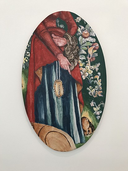"""KIM DICKEY, WOMAN WITH ESCAPING RABBIT """"The Hunt"""" glazed  terracotta"""