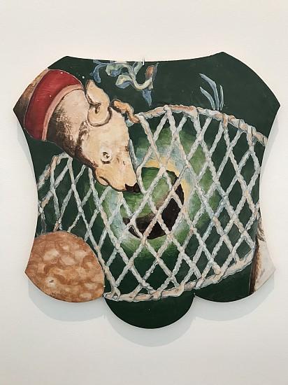 """KIM DICKEY, DOG WITH NET """"The Hunt"""" glazed  terracotta"""