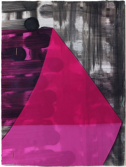 KATE PETLEY, FOLD #1 acrylic, ink, film and staples on paper