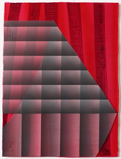 KATE PETLEY, FOLD #7 acrylic, ink, film and staples on paper