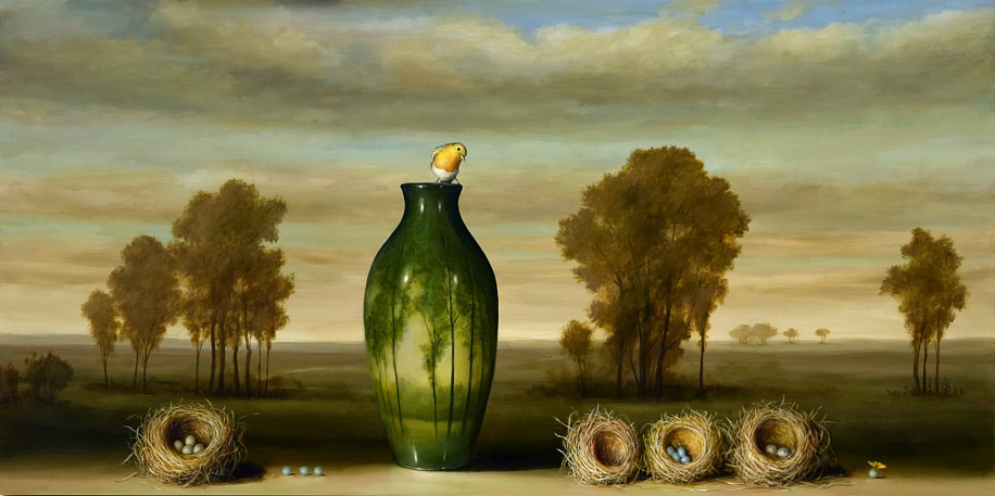 DAVID KROLL, VASE AND FOUR NESTS oil on panel